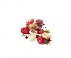 Raspberry and lychee cremeux with rose sorbet photo
