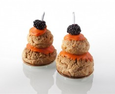 Blackberry and apricot profiteroles photo
