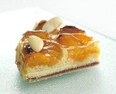 Baked cheesecake with apricots photo