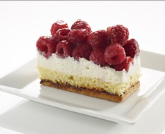 Raspberry pie with a biscuit layer and whipped cream photo