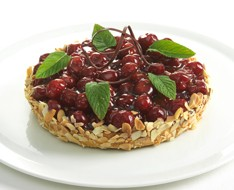 Sour cherry flan photo